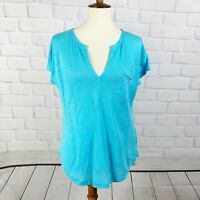 Lilly Pulitzer Blue Linen Top Lagenlook Blouse Women's Size Small