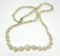 "VICTORIAN CZECHOSLOVAKIA OPALESCENT GLASS NECKLACE 24"" PEARL STERLING SYBOLL"
