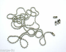 100CM Stainless Steel dog tag dogtag necklace Ball Chain silver Plus connectors
