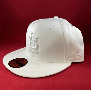 New Era 59Fifty Hat Mens MLB St. Louis Cardinals White on White Fitted 5950 Cap