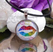 Lippen Leder Kette + Anhänger + Glas Cabochon 25mm Lederband schwarz 45 cm Mund