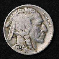 1937-S Buffalo Nickel G / VG FREE SHIPPING