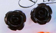 Ear Stud Earring Flower Blossom Rose Black Silver Metal