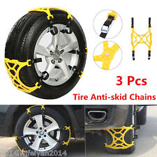 3Pcs/Set Universal Car Snow Tire Anti-skid Chains Safety Tire Chains Beef Tendon
