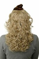 Postiche Demi-Perruque Clip-In Extension Boucles Blond Cendré 40cm H9312-22