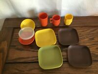 10 Piece Vintage Tupperware Kids Serve-It Harvest colors Free Shipping!