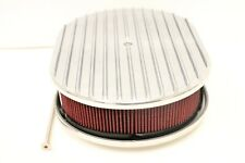 "12"" Oval Finned Full Polished Washable Aluminum Nostalgia Air Cleaner Chevy Ford"
