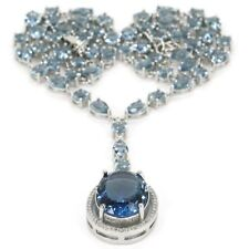 Stunning London Blue Topaz SheCrown Wedding Woman's Silver Necklace 18-19in
