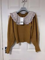 ZARA NEW KNIT SWEATER WITH CONTRAST PETER PAN COLLAR CAMEL, SIZE S BNWT