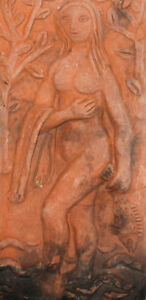 ANTIQUE EUROPEAN HAND MADE REDWARE POTTERY ABSTRACT NUDE FEMALE PLAQUE