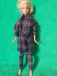 Barbie doll clothes - pants and trenchcoat - Hand made - 3 items