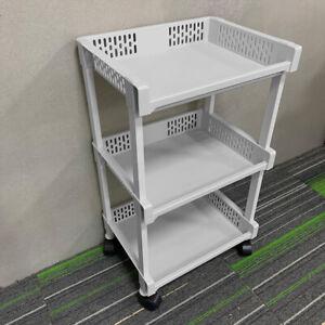 3 Tier Plastic Kitchen Trolley Carts Rack With Wheels Storage Shelf Off-white