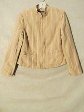 S6018 Evan-Picone Women's Size 6 Tan Striped Full Zip 2 Pocket Dress Jacket