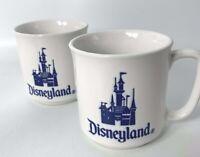 2 Disneyland Vintage Walt Disney Coffee Cup Lipped Mugs Cinderellas Castle Japan