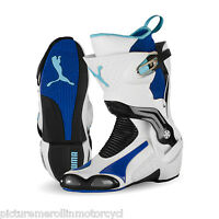 WHITE BLUE PUMA 1000 V3 MOTORCYCLE ROAD RACE MOTORCYCLE BOOT – BEST YOU CAN BUY!