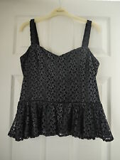 Lipsy Midnight Blue Strappy Lace Peplum Top size 14 BNWT £38