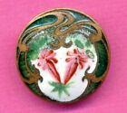 Antique Button Art Nouveau Enamel with Unusual Flowers