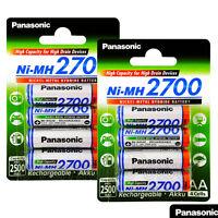 8 x Panasonic AA batteries 2700mAh Rechargeable High capacity Ni-MH Akku LR06