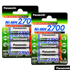 8 x Panasonic AA batteries 2700mAh Rechargeable High capacity Ni-MH Akku LR06