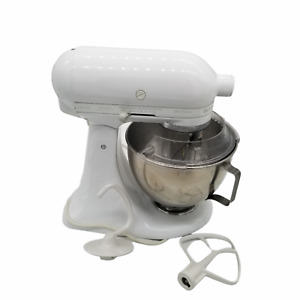 White KitchenAid KSM90 300W Ultra Power Stand Mixer with Accessories See Video