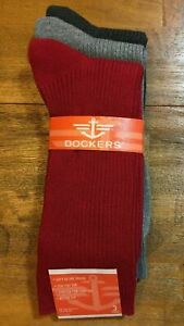 DOCKERS COTTON BLEND RIBBED CREW SOCKS 3 Pair Pack - Men's (Gray/Red) NEW NWT