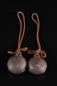 #5768: Japanese Old Iron Shapely BELL 2pcs, Buddhist art