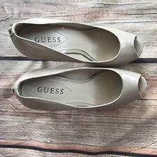 Women's GUESS Nude Patent Leather Peep Toe Platform PUMPS Heels Shoes Sz 6 1/2 M