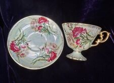 Vintage Wales Lustreware Porcelain January Carnation Footed Cup & Saucer Japan