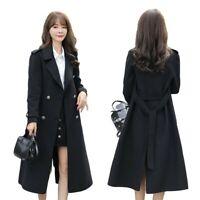 Womens Lapel Faux Wool Overcoat Belt Double-breasted Business Casual Midi Coat L