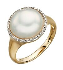 Yellow Gold Mabe Pearl And Diamond Ring