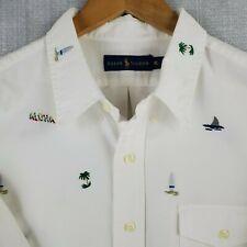 POLO RALPH LAUREN XL Mens Short Sleeve White Shark Sail Button Down Camp Shirt