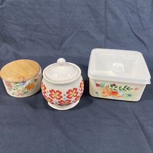 Nice! The Pioneer Woman Lot! Sugar Bowl Storage Container Flea Market Willow (3)