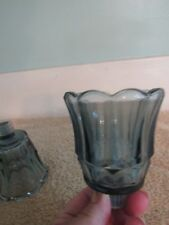 3 Home Interiors Homco Blue Glass Scalloped Edge Votive Cup Sconce