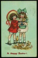 103020 A/S GASSOWAY CHILDREN WITH CHICKS VINTAGE TUCK EASTER POSTCARD 1909