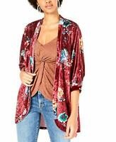 PROJECT 28 NYC Printed Crushed-Velvet Kimono Wine Large