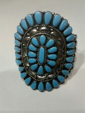 Zuni sterling silver vintage Cuff Bracelet w/Turquoise Petit Point Cluster by TB