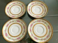 "Limoges France C. Ahrenfeld & C Hand Painted 5"" Saucer 4 pieces"