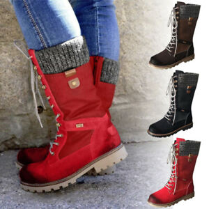 Womens Mid Calf Combat Boots Winter Warm Flats Lace Up Biker Riding Shoes Size