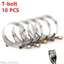 """10x Premium Stainless Steel T-Bolt Silicone Turbo Hose Clamp 2.5"""" 64-74mm Clamps"""
