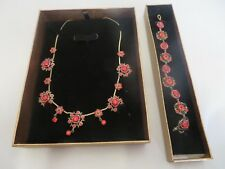 Necklace and Bracelet Red Gem Fashion Jewellery set