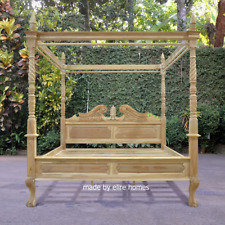 100% Solid Teak Wood 6' Super King Four poster canopy chippendale Queen Anne Bed