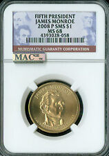 2008-P JAMES MONROE PRES. DOLLAR NGC MAC MS68 PQ SMS 2ND FINEST GRADE SPOTLESS .