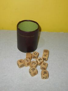 Older 1968 Scrabble Crossword Cubes Game 11 Wood Dice & Cup Replacement Parts