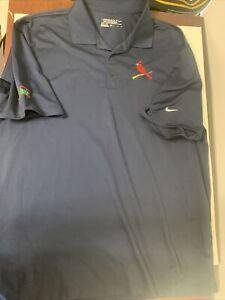 Nike Dri Fit St Louis Cardinals Golf Polo Blue Short Sleeve Men's Shirt XL