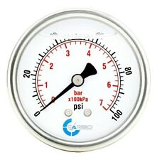 "2.5"" LIQUID FILLED PRESSURE GAUGE 0 - 100 PSI, STAINLESS STEEL CASE BACK  MOUNT"