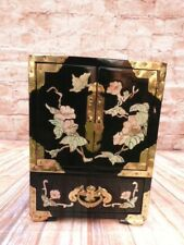 More details for vintage chinese lacquered wood brass abalone cabinet jewellery box marked 303.