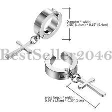 2-6pcs Men Women Stainless Steel Cross Dangle Hoop Clip on Earrings Non-Piercing