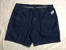 Croft & Barrow Size 46 Denim Shorts Cargo Relaxed Fit Blue Jean Big And Tall NWT