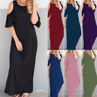 ZANZEA Women Off Shoulder Full-Length Tank Dress Sleeveless Long Maxi Dress Plus
