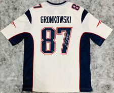 NE Patriots Rob Gronkowski Signed White Nike Jersey Auto - Beckett BAS Witness